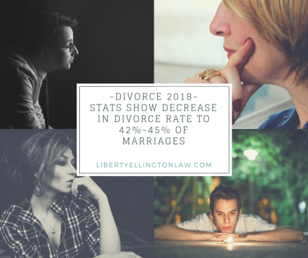 Divorce 2018Stats reduced to 42%-45% of marriages end in divorce